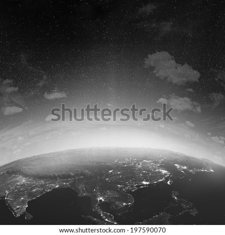 Asia. Elements of this image furnished by NASA - stock photo