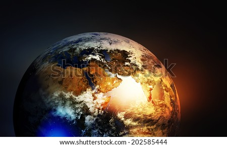 Asia europe and Africa continents on earth globe. Elements of this image furnished by NASA
