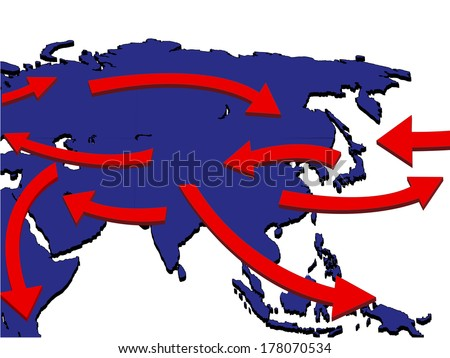 Asia Expansion Market Trade Routes Business Map 3D - stock photo