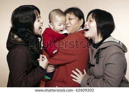 asia family - stock photo