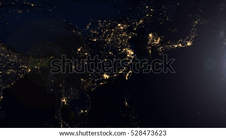 Asia From Space At Night - World Map Composition (Elements of this image furnished by NASA)