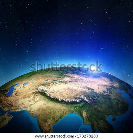 Asia from space. Elements of this image furnished by NASA - stock photo