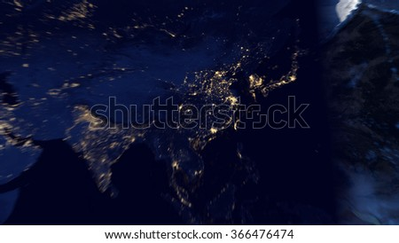 Asia from space - Image Map Composition (Elements of this image furnished by NASA) - stock photo