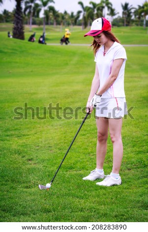 Asia girl golf player