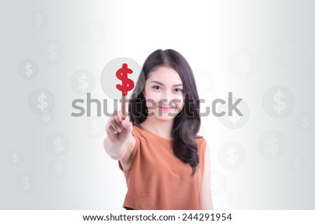 Asia girl  pushing dollar button on touch screen. - stock photo