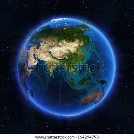 Asia globe. Elements of this image furnished by NASA - stock photo