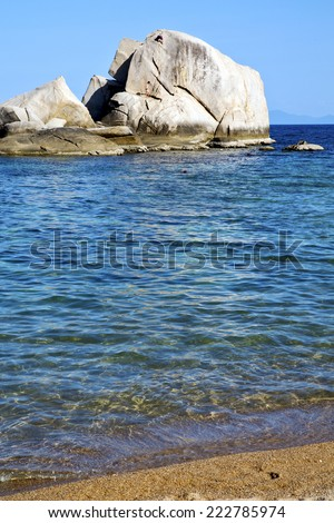 asia  kho tao coastline bay isle   big  rocks  froth foam  in thailand and south china sea  - stock photo