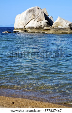 asia  kho tao coastline bay isle   big  rocks  froth foam  in thailand and south china sea
