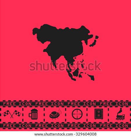 Asia map. Black flat illustration pictogram and bonus icon - Racing flag, Beer mug, Ufo fly, Sniper sight, Safe, Train on pink background - stock photo