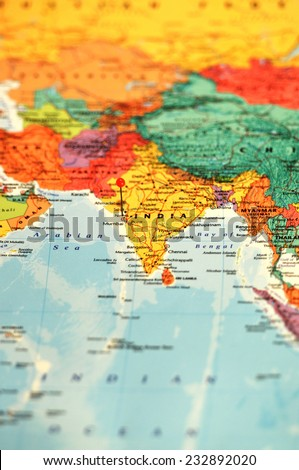 Asia Map, selective focus - India - stock photo