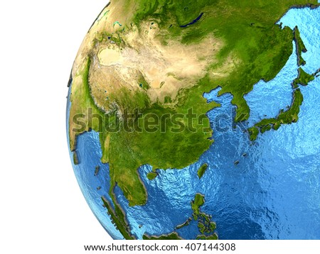 Asia on detailed model of planet Earth with continents lifted above blue ocean waters. 3D Illustration. Elements of this image furnished by NASA. - stock photo