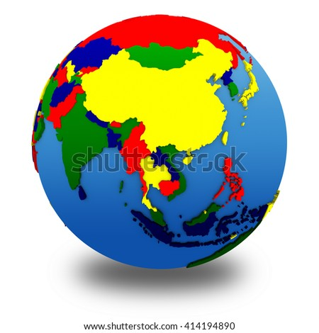 Asia on political 3D model of Earth with embossed continents and countries in various colors. 3D illustration isolated on white background with shadow.