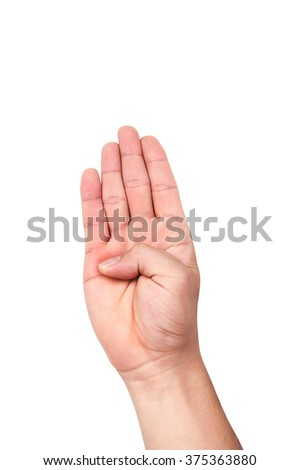 Asia people male hand white and yellow skin with four fingers isolated on a white background - stock photo