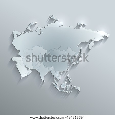 Asia political map glass card paper 3D raster individual states separate - stock photo