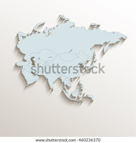 Asia political map white blue 3D raster - stock photo