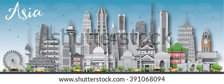 Asia skyline silhouette with different landmarks. Business travel and tourism concept with place for text. Image for presentation, banner, placard and web site. - stock photo