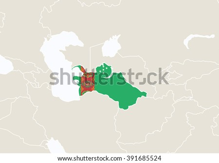 Asia with highlighted Turkmenistan map. Raster copy.