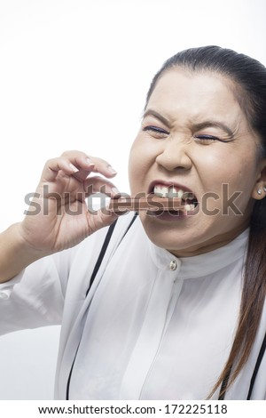 Asia Woman eating Chocolate on White background