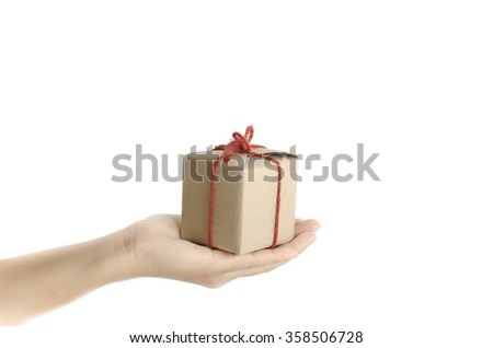 asia woman hand holding gift box on a white background