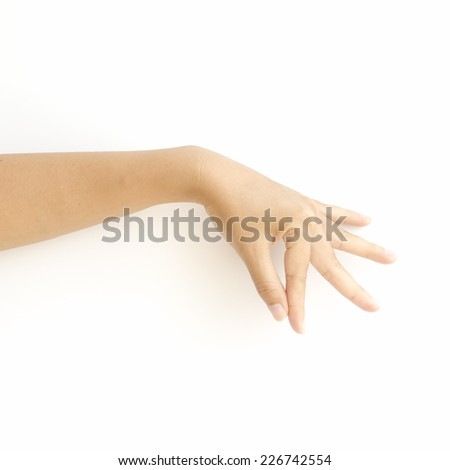 asia woman  hands hold sign on a white background