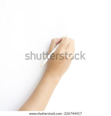 asia woman right hand writing on a white background