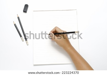 asia woman right hand writing with black pencil on paper over white background
