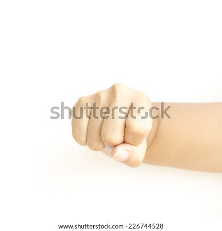 asia woman strength hand sign on a white background