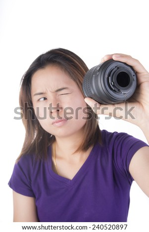 Asia Woman whit look cleaning camera lens