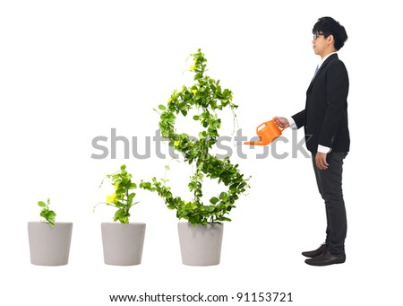 asia young business man and orange water can (path in side) - stock photo