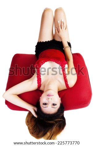 Asian American Woman Red Top Reclining Pillow