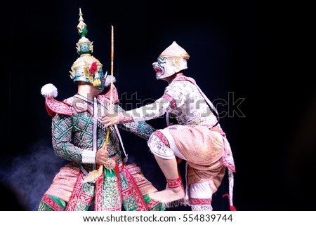 asian and Thailand traditional performance drama call ramayana in giant and monkey suite on black isolate background
