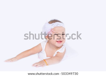 Asian baby,Baby girls enjoy and happy on white background