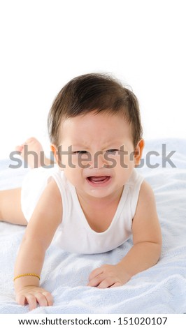Asian Baby Boy Cry Isolated On The White Background.