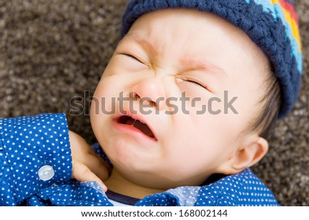 Asian baby boy crying - stock photo