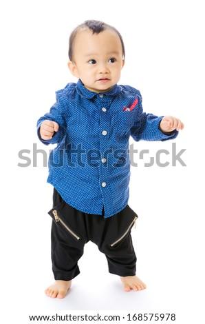 Asian baby boy learn to walk - stock photo
