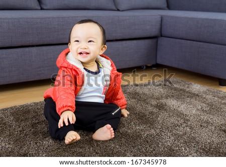 Asian baby boy smile - stock photo