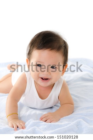 Asian Baby Boy Smile Isolated On The White Background.