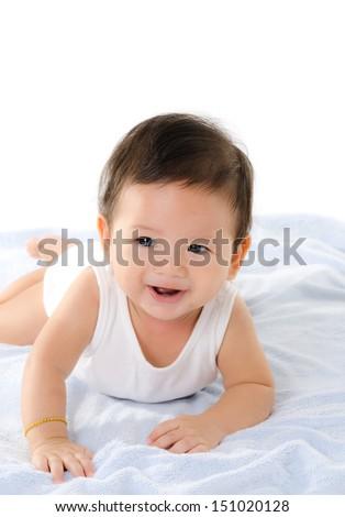 Asian Baby Boy Smile Isolated On The White Background. - stock photo