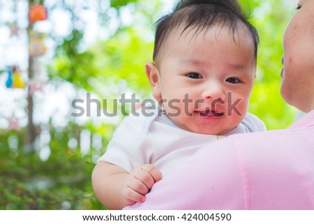 Asian baby cute boy newborn - stock photo