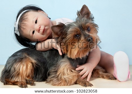 Asian Baby Doll Embracing her pet dog yorkshire sitting down in front on a white background. - stock photo