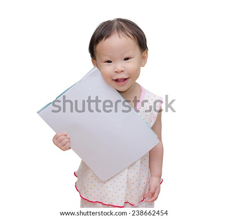 Asian Baby Girl holding blank notebook on a white isolated background - stock photo