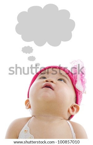 Asian baby girl looking up with thought bubble isolated on white background - stock photo