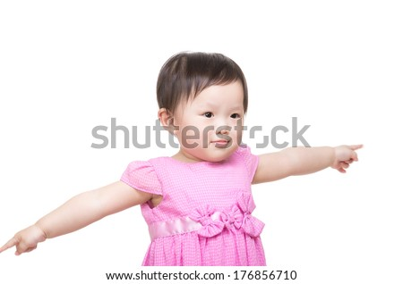 Asian baby girl open arm