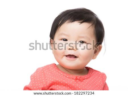 Asian baby girl smile - stock photo