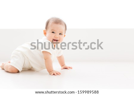 asian baby in the room - stock photo