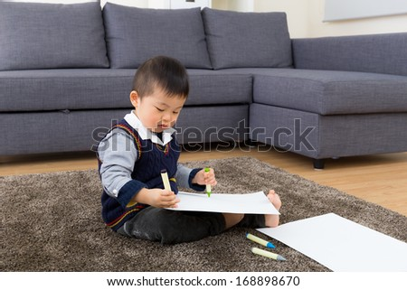 Asian baby kid drawing