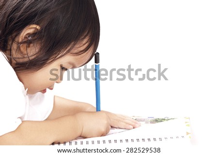 Asian Baby, Toddler, Writing on Notebook Isolated on White Background - stock photo
