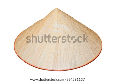asian bamboo hat isolated over white background