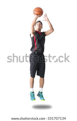 Asian Basketball Player Jumping To Shoot 3 Scores