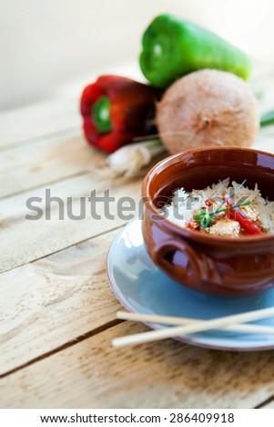 Asian basmati rice with salmon - stock photo